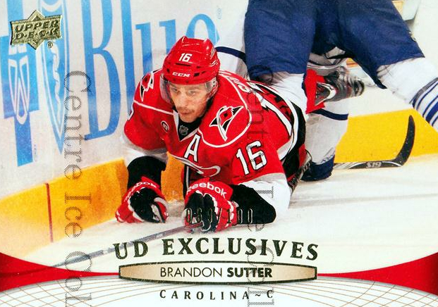 2011-12 Upper Deck UD Exclusives #420 Brandon Sutter<br/>1 In Stock - $5.00 each - <a href=https://centericecollectibles.foxycart.com/cart?name=2011-12%20Upper%20Deck%20UD%20Exclusives%20%23420%20Brandon%20Sutter...&price=$5.00&code=565947 class=foxycart> Buy it now! </a>