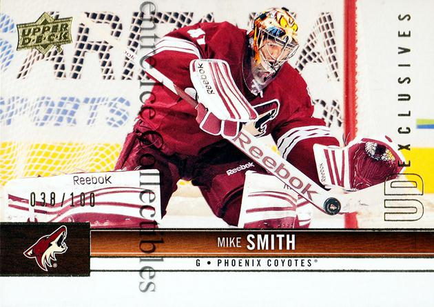 2012-13 Upper Deck UD Exclusives #140 Mike Smith<br/>1 In Stock - $5.00 each - <a href=https://centericecollectibles.foxycart.com/cart?name=2012-13%20Upper%20Deck%20UD%20Exclusives%20%23140%20Mike%20Smith...&quantity_max=1&price=$5.00&code=566709 class=foxycart> Buy it now! </a>