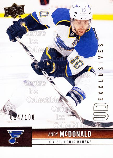 2012-13 Upper Deck UD Exclusives #164 Andy McDonald<br/>1 In Stock - $5.00 each - <a href=https://centericecollectibles.foxycart.com/cart?name=2012-13%20Upper%20Deck%20UD%20Exclusives%20%23164%20Andy%20McDonald...&quantity_max=1&price=$5.00&code=566733 class=foxycart> Buy it now! </a>