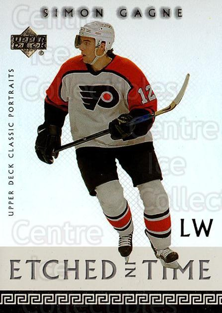 2002-03 UD Classic Portraits Etched in Time #12 Simon Gagne<br/>1 In Stock - $3.00 each - <a href=https://centericecollectibles.foxycart.com/cart?name=2002-03%20UD%20Classic%20Portraits%20Etched%20in%20Time%20%2312%20Simon%20Gagne...&quantity_max=1&price=$3.00&code=567845 class=foxycart> Buy it now! </a>