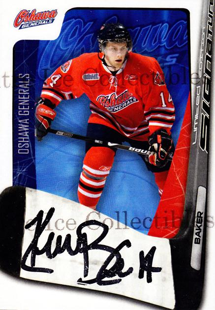 2007-08 Oshawa Generals Signature Series #9 Kevin Baker<br/>5 In Stock - $5.00 each - <a href=https://centericecollectibles.foxycart.com/cart?name=2007-08%20Oshawa%20Generals%20Signature%20Series%20%239%20Kevin%20Baker...&quantity_max=5&price=$5.00&code=568504 class=foxycart> Buy it now! </a>