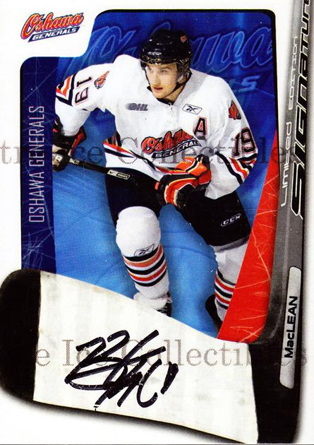 2007-08 Oshawa Generals Signature Series #13 Brett MacLean<br/>5 In Stock - $5.00 each - <a href=https://centericecollectibles.foxycart.com/cart?name=2007-08%20Oshawa%20Generals%20Signature%20Series%20%2313%20Brett%20MacLean...&quantity_max=5&price=$5.00&code=568508 class=foxycart> Buy it now! </a>