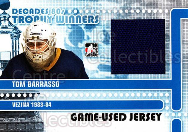 2010-11 ITG Decades 1980s Trophy Winners Jersey Black #13 Tom Barrasso<br/>1 In Stock - $10.00 each - <a href=https://centericecollectibles.foxycart.com/cart?name=2010-11%20ITG%20Decades%201980s%20Trophy%20Winners%20Jersey%20Black%20%2313%20Tom%20Barrasso...&price=$10.00&code=568544 class=foxycart> Buy it now! </a>