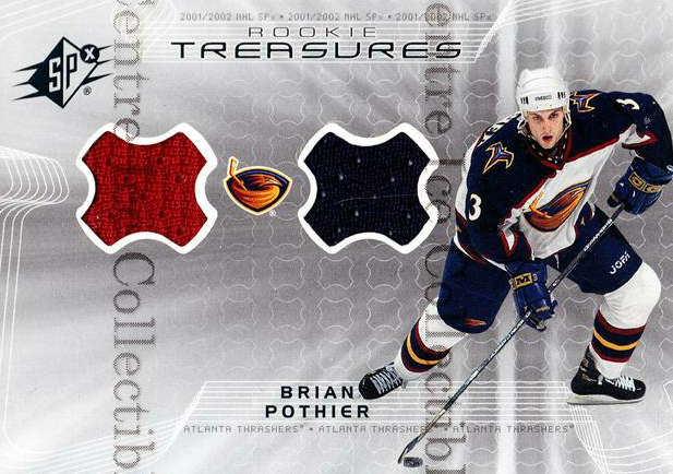 2001-02 SPx Rookie Treasures Jersey #RTBP Brian Pothier<br/>1 In Stock - $5.00 each - <a href=https://centericecollectibles.foxycart.com/cart?name=2001-02%20SPx%20Rookie%20Treasures%20Jersey%20%23RTBP%20Brian%20Pothier...&price=$5.00&code=569028 class=foxycart> Buy it now! </a>