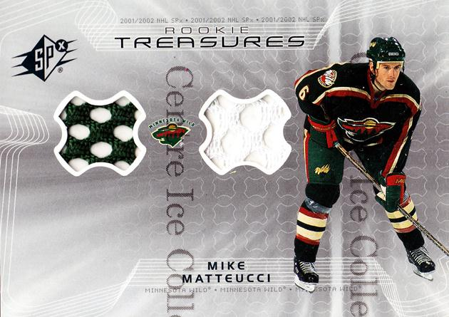 2001-02 SPx Rookie Treasures Jersey #RTMM Mike Matteucci<br/>1 In Stock - $5.00 each - <a href=https://centericecollectibles.foxycart.com/cart?name=2001-02%20SPx%20Rookie%20Treasures%20Jersey%20%23RTMM%20Mike%20Matteucci...&quantity_max=1&price=$5.00&code=569040 class=foxycart> Buy it now! </a>
