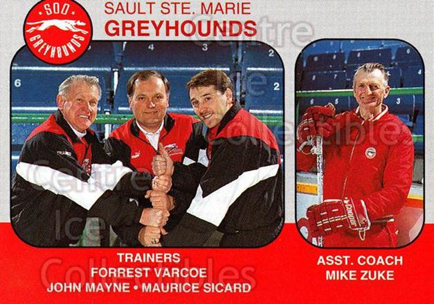 1993-94 Sault Ste. Marie Greyhounds Memorial Cup #32 Mike Zuke, Forrest Varcoe, John Mayne, Maurice Sicard<br/>3 In Stock - $3.00 each - <a href=https://centericecollectibles.foxycart.com/cart?name=1993-94%20Sault%20Ste.%20Marie%20Greyhounds%20Memorial%20Cup%20%2332%20Mike%20Zuke,%20Forr...&quantity_max=3&price=$3.00&code=569 class=foxycart> Buy it now! </a>