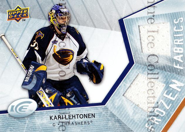 2008-09 UD Ice Frozen Fabrics #FFKL Kari Lehtonen<br/>1 In Stock - $5.00 each - <a href=https://centericecollectibles.foxycart.com/cart?name=2008-09%20UD%20Ice%20Frozen%20Fabrics%20%23FFKL%20Kari%20Lehtonen...&price=$5.00&code=570713 class=foxycart> Buy it now! </a>