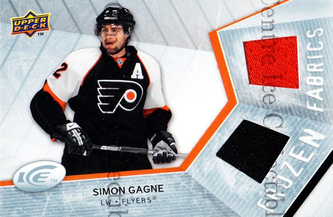 2008-09 UD Ice Frozen Fabrics #FFSG Simon Gagne<br/>1 In Stock - $5.00 each - <a href=https://centericecollectibles.foxycart.com/cart?name=2008-09%20UD%20Ice%20Frozen%20Fabrics%20%23FFSG%20Simon%20Gagne...&quantity_max=1&price=$5.00&code=570729 class=foxycart> Buy it now! </a>