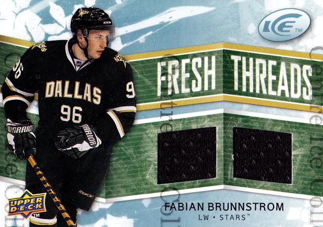 2008-09 UD Ice Fresh Threads #FTFB Fabian Brunnstrom<br/>1 In Stock - $5.00 each - <a href=https://centericecollectibles.foxycart.com/cart?name=2008-09%20UD%20Ice%20Fresh%20Threads%20%23FTFB%20Fabian%20Brunnstr...&quantity_max=1&price=$5.00&code=570752 class=foxycart> Buy it now! </a>
