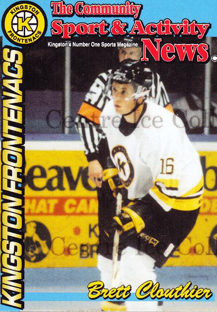 1998-99 Kingston Frontenacs #2 Brett Clouthier<br/>1 In Stock - $3.00 each - <a href=https://centericecollectibles.foxycart.com/cart?name=1998-99%20Kingston%20Frontenacs%20%232%20Brett%20Clouthier...&price=$3.00&code=572205 class=foxycart> Buy it now! </a>