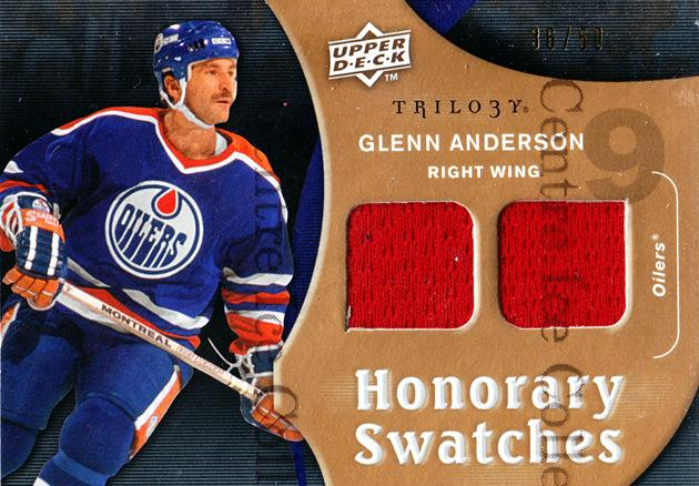 2009-10 UD Trilogy Honorary Swatches Gold #HSGA Glenn Anderson<br/>1 In Stock - $5.00 each - <a href=https://centericecollectibles.foxycart.com/cart?name=2009-10%20UD%20Trilogy%20Honorary%20Swatches%20Gold%20%23HSGA%20Glenn%20Anderson...&price=$5.00&code=573185 class=foxycart> Buy it now! </a>