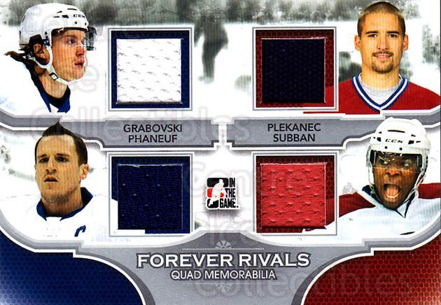 2012-13 ITG Forever Rivals Quad Memorabilia Silver #1 Mikhail Grabovski, Dion Phaneuf, Tomas Plekanec, PK Subban<br/>2 In Stock - $10.00 each - <a href=https://centericecollectibles.foxycart.com/cart?name=2012-13%20ITG%20Forever%20Rivals%20Quad%20Memorabilia%20Silver%20%231%20Mikhail%20Grabovs...&price=$10.00&code=574783 class=foxycart> Buy it now! </a>