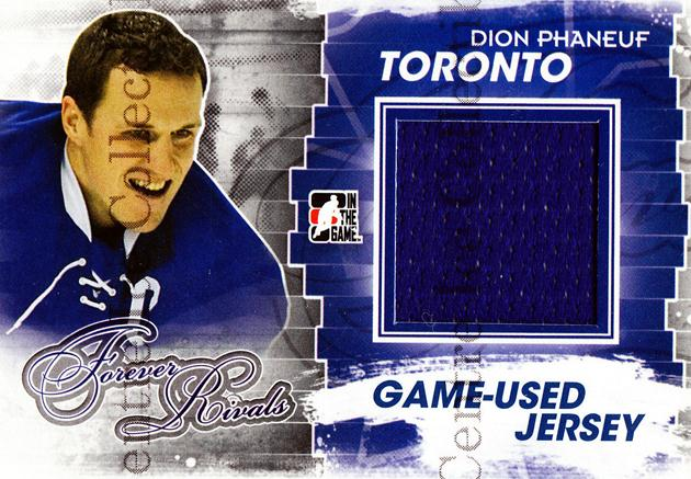 2012-13 ITG Forever Rivals Jersey Blue Red #3 Dion Phaneuf<br/>1 In Stock - $10.00 each - <a href=https://centericecollectibles.foxycart.com/cart?name=2012-13%20ITG%20Forever%20Rivals%20Jersey%20Blue%20Red%20%233%20Dion%20Phaneuf...&price=$10.00&code=574794 class=foxycart> Buy it now! </a>