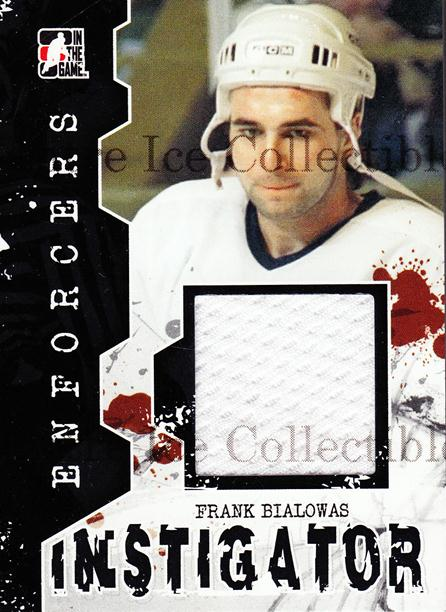 2011-12 ITG Enforcers Instigator Jersey #5 Frank Bialowas<br/>5 In Stock - $5.00 each - <a href=https://centericecollectibles.foxycart.com/cart?name=2011-12%20ITG%20Enforcers%20Instigator%20Jersey%20%235%20Frank%20Bialowas...&quantity_max=5&price=$5.00&code=574916 class=foxycart> Buy it now! </a>