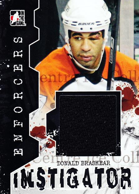 2011-12 ITG Enforcers Instigator Jersey #7 Donald Brashear<br/>3 In Stock - $5.00 each - <a href=https://centericecollectibles.foxycart.com/cart?name=2011-12%20ITG%20Enforcers%20Instigator%20Jersey%20%237%20Donald%20Brashear...&quantity_max=3&price=$5.00&code=574918 class=foxycart> Buy it now! </a>