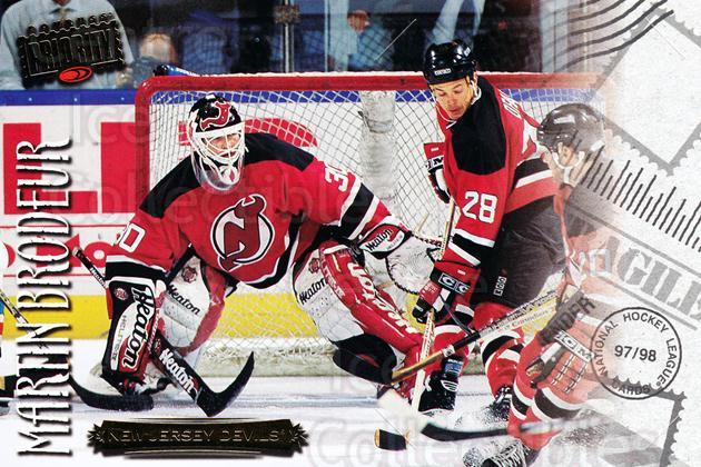 1997-98 Donruss Priority Postcards #24 Martin Brodeur<br/>1 In Stock - $3.00 each - <a href=https://centericecollectibles.foxycart.com/cart?name=1997-98%20Donruss%20Priority%20Postcards%20%2324%20Martin%20Brodeur...&price=$3.00&code=57494 class=foxycart> Buy it now! </a>
