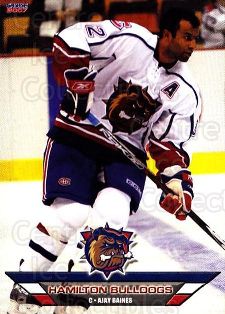 2006-07 Hamilton Bulldogs #3 Ajay Baines<br/>2 In Stock - $3.00 each - <a href=https://centericecollectibles.foxycart.com/cart?name=2006-07%20Hamilton%20Bulldogs%20%233%20Ajay%20Baines...&price=$3.00&code=575995 class=foxycart> Buy it now! </a>