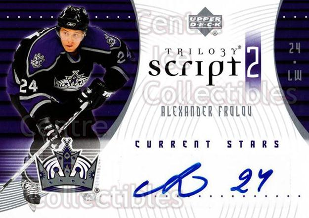 2007-08 UD Trilogy Scripts #S2AF Alexander Frolov<br/>1 In Stock - $5.00 each - <a href=https://centericecollectibles.foxycart.com/cart?name=2007-08%20UD%20Trilogy%20Scripts%20%23S2AF%20Alexander%20Frolo...&quantity_max=1&price=$5.00&code=577559 class=foxycart> Buy it now! </a>