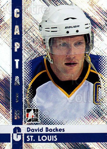 2011-12 ITG Captain C #22 David Backes<br/>3 In Stock - $3.00 each - <a href=https://centericecollectibles.foxycart.com/cart?name=2011-12%20ITG%20Captain%20C%20%2322%20David%20Backes...&quantity_max=3&price=$3.00&code=577804 class=foxycart> Buy it now! </a>