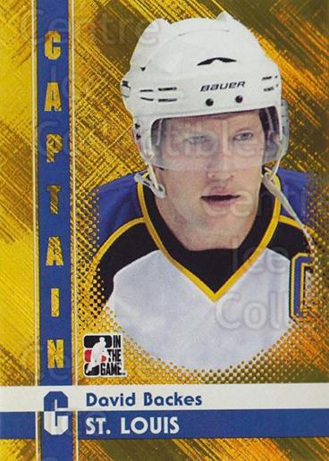 2011-12 ITG Captain C Gold #22 David Backes<br/>1 In Stock - $10.00 each - <a href=https://centericecollectibles.foxycart.com/cart?name=2011-12%20ITG%20Captain%20C%20Gold%20%2322%20David%20Backes...&quantity_max=1&price=$10.00&code=577904 class=foxycart> Buy it now! </a>