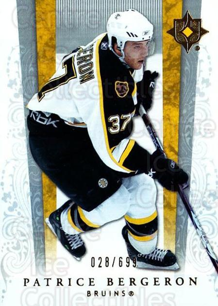 2006-07 UD Ultimate Collection #4 Patrice Bergeron<br/>1 In Stock - $5.00 each - <a href=https://centericecollectibles.foxycart.com/cart?name=2006-07%20UD%20Ultimate%20Collection%20%234%20Patrice%20Bergero...&quantity_max=1&price=$5.00&code=578072 class=foxycart> Buy it now! </a>