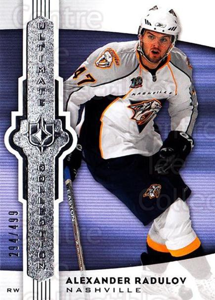 <a href=index.aspx?SetName=2007-08%20UD%20Ultimate%20Collection>2007-08 UD Ultimate Collection</a> #33 <a href=index.aspx?PlayerName=Alexander%20Radulov> Alexander Radulov</a><br/>1 in stock - $5.00 each - <a href=https://centericecollectibles.foxycart.com/cart?name=2007-08%20UD%20Ultimate%20Collection%20%2333%20Alexander%20Radul...&price=$5.00&code=578233 class=foxycart> Buy it now! </a>