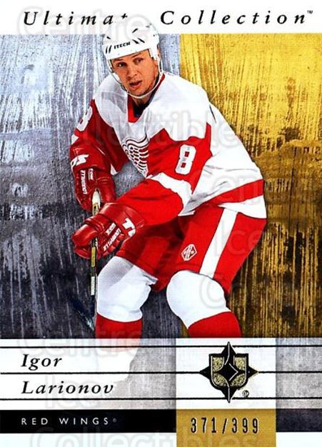 2011-12 UD Ultimate Collection #20 Igor Larionov<br/>1 In Stock - $5.00 each - <a href=https://centericecollectibles.foxycart.com/cart?name=2011-12%20UD%20Ultimate%20Collection%20%2320%20Igor%20Larionov...&quantity_max=1&price=$5.00&code=578583 class=foxycart> Buy it now! </a>