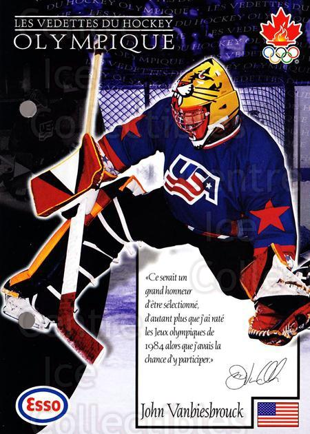1997-98 Esso Olympic Hockey Heroes French #34 John Vanbiesbrouck<br/>2 In Stock - $3.00 each - <a href=https://centericecollectibles.foxycart.com/cart?name=1997-98%20Esso%20Olympic%20Hockey%20Heroes%20French%20%2334%20John%20Vanbiesbro...&quantity_max=2&price=$3.00&code=57878 class=foxycart> Buy it now! </a>