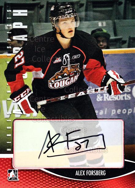 2012-13 ITG Heroes and Prospects Auto #AAF Alex Forsberg<br/>1 In Stock - $5.00 each - <a href=https://centericecollectibles.foxycart.com/cart?name=2012-13%20ITG%20Heroes%20and%20Prospects%20Auto%20%23AAF%20Alex%20Forsberg...&price=$5.00&code=578994 class=foxycart> Buy it now! </a>