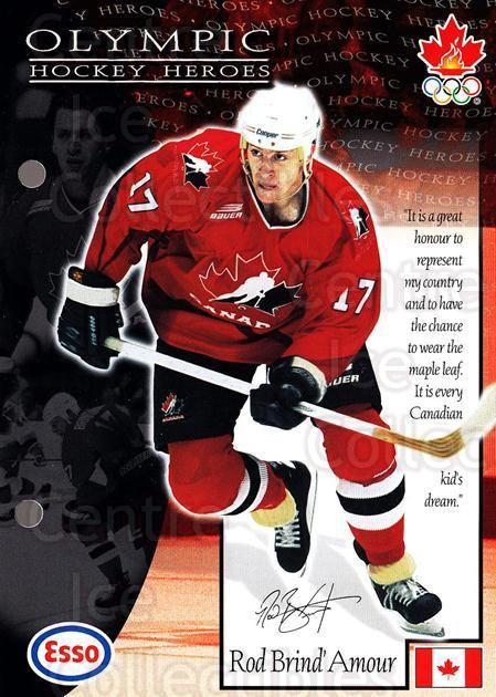 1997-98 Esso Olympic Hockey Heroes #11 Rod Brind'Amour<br/>7 In Stock - $3.00 each - <a href=https://centericecollectibles.foxycart.com/cart?name=1997-98%20Esso%20Olympic%20Hockey%20Heroes%20%2311%20Rod%20Brind'Amour...&quantity_max=7&price=$3.00&code=57908 class=foxycart> Buy it now! </a>