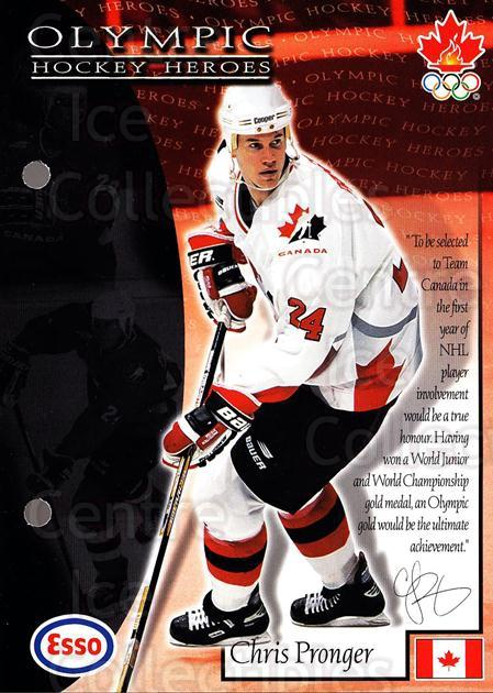 1997-98 Esso Olympic Hockey Heroes #15 Chris Pronger<br/>8 In Stock - $3.00 each - <a href=https://centericecollectibles.foxycart.com/cart?name=1997-98%20Esso%20Olympic%20Hockey%20Heroes%20%2315%20Chris%20Pronger...&quantity_max=8&price=$3.00&code=57912 class=foxycart> Buy it now! </a>