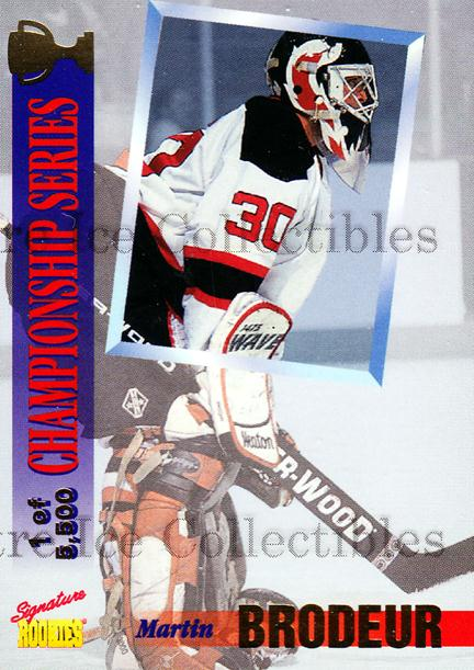 1995 Signature Rookies Draft Day Championship Series #1 Martin Brodeur<br/>3 In Stock - $3.00 each - <a href=https://centericecollectibles.foxycart.com/cart?name=1995%20Signature%20Rookies%20Draft%20Day%20Championship%20Series%20%231%20Martin%20Brodeur...&price=$3.00&code=579162 class=foxycart> Buy it now! </a>