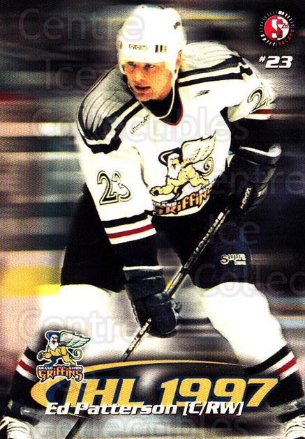 1997-98 Grand Rapids Griffins #11 Ed Patterson<br/>4 In Stock - $3.00 each - <a href=https://centericecollectibles.foxycart.com/cart?name=1997-98%20Grand%20Rapids%20Griffins%20%2311%20Ed%20Patterson...&price=$3.00&code=57963 class=foxycart> Buy it now! </a>