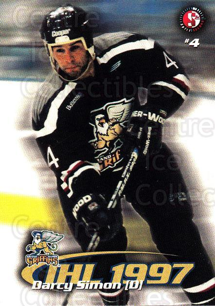 1997-98 Grand Rapids Griffins #16 Darcy Simon<br/>4 In Stock - $3.00 each - <a href=https://centericecollectibles.foxycart.com/cart?name=1997-98%20Grand%20Rapids%20Griffins%20%2316%20Darcy%20Simon...&price=$3.00&code=57968 class=foxycart> Buy it now! </a>