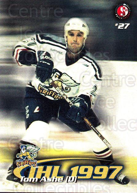 1997-98 Grand Rapids Griffins #2 Tom Ashe<br/>4 In Stock - $3.00 each - <a href=https://centericecollectibles.foxycart.com/cart?name=1997-98%20Grand%20Rapids%20Griffins%20%232%20Tom%20Ashe...&price=$3.00&code=57971 class=foxycart> Buy it now! </a>