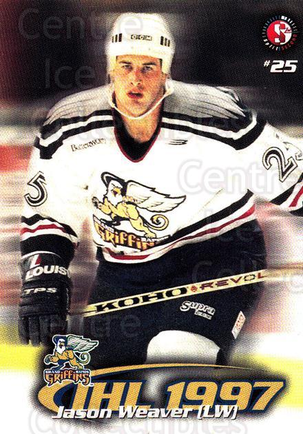 1997-98 Grand Rapids Griffins #20 Jason Weaver<br/>3 In Stock - $3.00 each - <a href=https://centericecollectibles.foxycart.com/cart?name=1997-98%20Grand%20Rapids%20Griffins%20%2320%20Jason%20Weaver...&price=$3.00&code=57972 class=foxycart> Buy it now! </a>