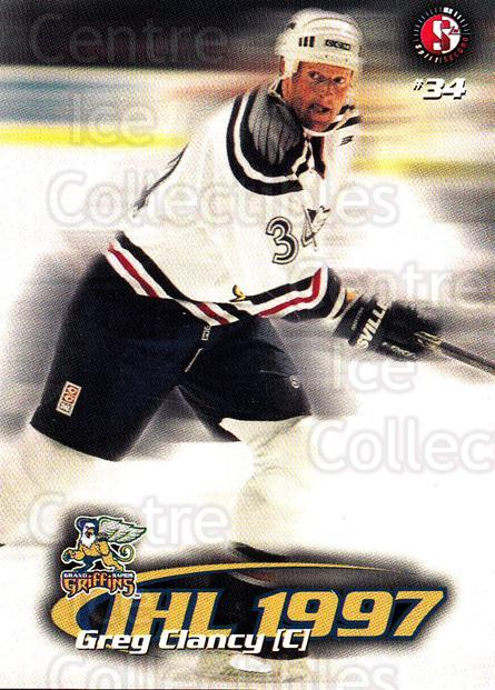 1997-98 Grand Rapids Griffins #3 Greg Clancy<br/>3 In Stock - $3.00 each - <a href=https://centericecollectibles.foxycart.com/cart?name=1997-98%20Grand%20Rapids%20Griffins%20%233%20Greg%20Clancy...&price=$3.00&code=57977 class=foxycart> Buy it now! </a>