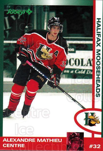 1997-98 Halifax Mooseheads Series Two #14 Alexandre Mathieu<br/>4 In Stock - $3.00 each - <a href=https://centericecollectibles.foxycart.com/cart?name=1997-98%20Halifax%20Mooseheads%20Series%20Two%20%2314%20Alexandre%20Mathi...&quantity_max=4&price=$3.00&code=58009 class=foxycart> Buy it now! </a>