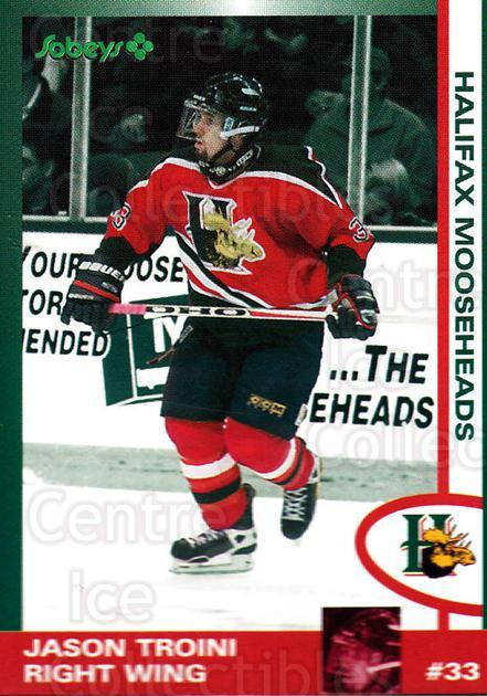 1997-98 Halifax Mooseheads Series Two #24 Jason Troini<br/>4 In Stock - $3.00 each - <a href=https://centericecollectibles.foxycart.com/cart?name=1997-98%20Halifax%20Mooseheads%20Series%20Two%20%2324%20Jason%20Troini...&quantity_max=4&price=$3.00&code=58016 class=foxycart> Buy it now! </a>