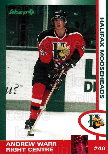 1997-98 Halifax Mooseheads Series Two #25 Andrew Warr<br/>1 In Stock - $3.00 each - <a href=https://centericecollectibles.foxycart.com/cart?name=1997-98%20Halifax%20Mooseheads%20Series%20Two%20%2325%20Andrew%20Warr...&quantity_max=1&price=$3.00&code=58017 class=foxycart> Buy it now! </a>