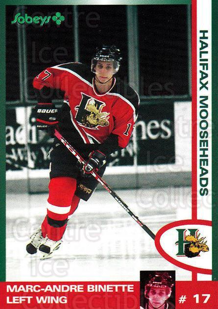 1997-98 Halifax Mooseheads Series Two #3 Marc-Andre Binette<br/>6 In Stock - $3.00 each - <a href=https://centericecollectibles.foxycart.com/cart?name=1997-98%20Halifax%20Mooseheads%20Series%20Two%20%233%20Marc-Andre%20Bine...&quantity_max=6&price=$3.00&code=58024 class=foxycart> Buy it now! </a>