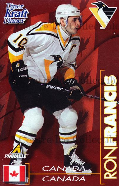1997-98 Kraft Dinner #6 Ron Francis<br/>4 In Stock - $3.00 each - <a href=https://centericecollectibles.foxycart.com/cart?name=1997-98%20Kraft%20Dinner%20%236%20Ron%20Francis...&quantity_max=4&price=$3.00&code=58103 class=foxycart> Buy it now! </a>