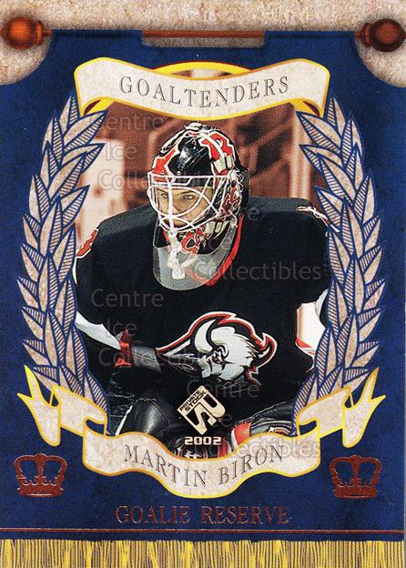 2001-02 Private Stock Reserve Insert Goalies #1 Martin Biron<br/>4 In Stock - $3.00 each - <a href=https://centericecollectibles.foxycart.com/cart?name=2001-02%20Private%20Stock%20Reserve%20Insert%20Goalies%20%231%20Martin%20Biron...&quantity_max=4&price=$3.00&code=581526 class=foxycart> Buy it now! </a>