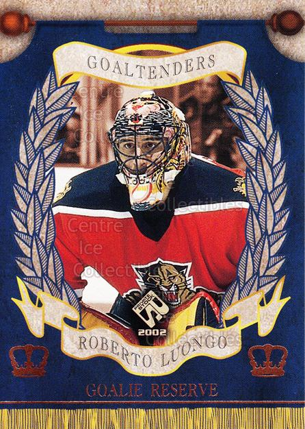 2001-02 Private Stock Reserve Insert Goalies #6 Roberto Luongo<br/>4 In Stock - $3.00 each - <a href=https://centericecollectibles.foxycart.com/cart?name=2001-02%20Private%20Stock%20Reserve%20Insert%20Goalies%20%236%20Roberto%20Luongo...&quantity_max=4&price=$3.00&code=581531 class=foxycart> Buy it now! </a>