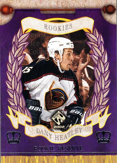 2001-02 Private Stock Reserve Insert Rookies #1 Dany Heatley<br/>6 In Stock - $3.00 each - <a href=https://centericecollectibles.foxycart.com/cart?name=2001-02%20Private%20Stock%20Reserve%20Insert%20Rookies%20%231%20Dany%20Heatley...&quantity_max=6&price=$3.00&code=581536 class=foxycart> Buy it now! </a>