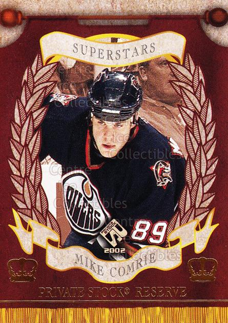 2001-02 Private Stock Reserve Insert SuperStars #6 Mike Comrie<br/>6 In Stock - $3.00 each - <a href=https://centericecollectibles.foxycart.com/cart?name=2001-02%20Private%20Stock%20Reserve%20Insert%20SuperStars%20%236%20Mike%20Comrie...&quantity_max=6&price=$3.00&code=581551 class=foxycart> Buy it now! </a>