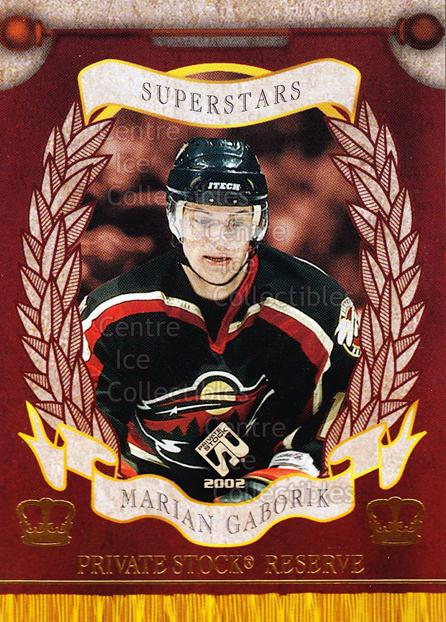 2001-02 Private Stock Reserve Insert SuperStars #9 Marian Gaborik<br/>5 In Stock - $3.00 each - <a href=https://centericecollectibles.foxycart.com/cart?name=2001-02%20Private%20Stock%20Reserve%20Insert%20SuperStars%20%239%20Marian%20Gaborik...&quantity_max=5&price=$3.00&code=581554 class=foxycart> Buy it now! </a>