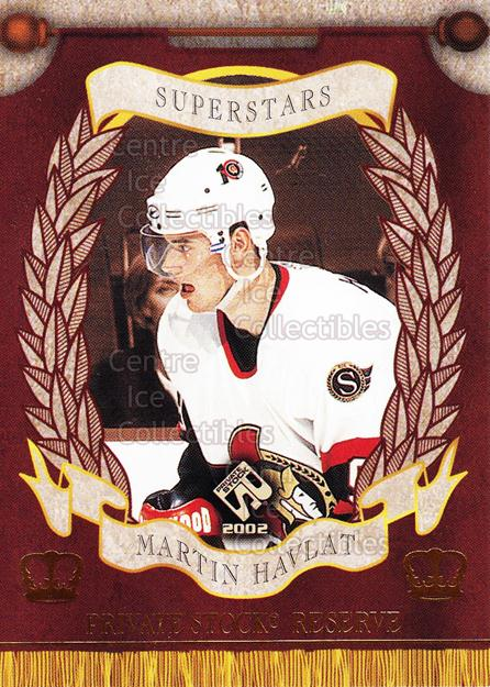 2001-02 Private Stock Reserve Insert SuperStars #12 Martin Havlat<br/>6 In Stock - $3.00 each - <a href=https://centericecollectibles.foxycart.com/cart?name=2001-02%20Private%20Stock%20Reserve%20Insert%20SuperStars%20%2312%20Martin%20Havlat...&quantity_max=6&price=$3.00&code=581557 class=foxycart> Buy it now! </a>