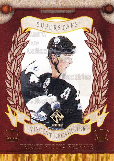 2001-02 Private Stock Reserve Insert SuperStars #18 Vincent Lecavalier<br/>6 In Stock - $3.00 each - <a href=https://centericecollectibles.foxycart.com/cart?name=2001-02%20Private%20Stock%20Reserve%20Insert%20SuperStars%20%2318%20Vincent%20Lecaval...&quantity_max=6&price=$3.00&code=581563 class=foxycart> Buy it now! </a>