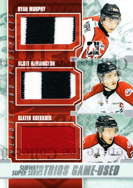 2012-13 ITG Heroes and Prospects Subway Trios Silver #10 Ryan Murphy, Scott Harrington, Slater Koekkoek<br/>1 In Stock - $10.00 each - <a href=https://centericecollectibles.foxycart.com/cart?name=2012-13%20ITG%20Heroes%20and%20Prospects%20Subway%20Trios%20Silver%20%2310%20Ryan%20Murphy,%20Sc...&quantity_max=1&price=$10.00&code=581769 class=foxycart> Buy it now! </a>